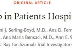 "NEJM:Tocilizumab用于<font color=""red"">新</font><font color=""red"">冠</font><font color=""red"">肺炎</font>住院患者的治疗"