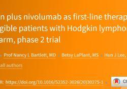 "Lancet haematol:<font color=""red"">维</font>布<font color=""red"">妥</font>昔单抗联合纳武利尤单抗治疗霍奇金淋巴瘤老年患者的疗效"
