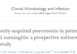 "Clin Microbiol Infect:肺炎是细菌<font color=""red"">性</font><font color=""red"">脑膜</font><font color=""red"">炎</font>患者入院时的一种常见的并存感染,且与其不利结局相关"