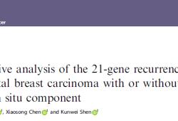 Br J Cancer:浸润性乳腺导管癌伴随原位导管癌患者的21基因复发评分综合分析