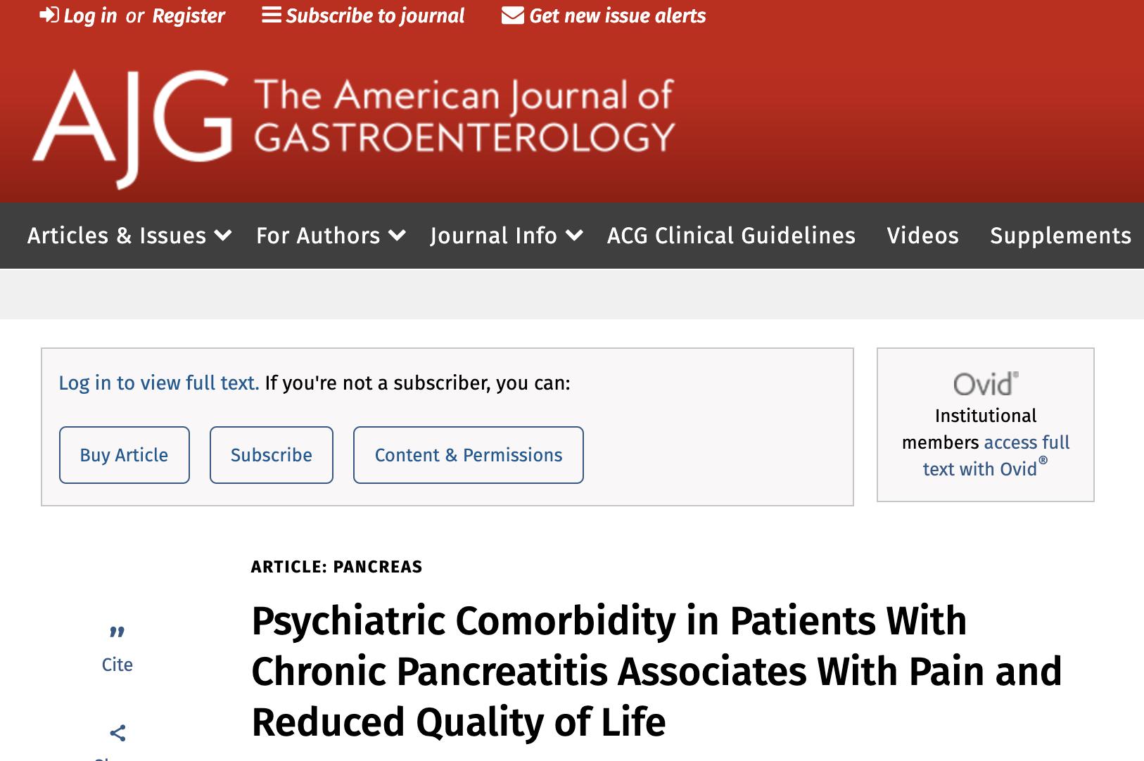 合并有精神症状的慢性胰腺炎患者其疼痛及生活质量均会明显恶化