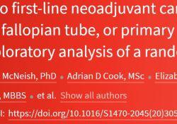 "Lancet oncol:ICON8试验  卵巢、输卵管、腹膜癌经<font color=""red"">卡</font><font color=""red"">铂</font>-紫杉醇一线新辅助化疗后的客观缓解率"