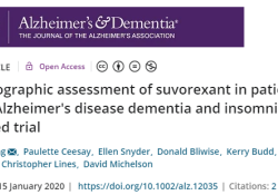 """Alzheimers Dement:Suvorexant可改善疑似AD<font color=""""red"""">痴呆</font><font color=""""red"""">和</font><font color=""""red"""">失眠</font>患者的睡眠情况"""