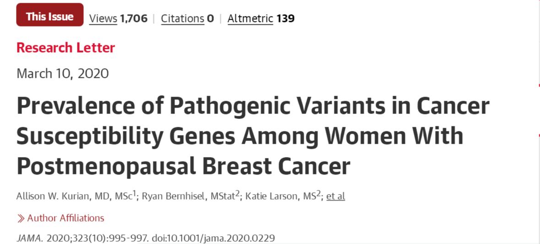 JAMA:4500名女性研究表明,基因检测或可让患有乳腺癌的老年妇女从中获益