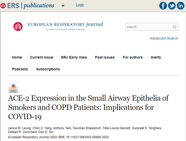 吸烟者和慢性阻塞性肺疾病(COPD)患者更易患COVID-19