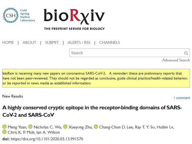 bioRxiv:SARS抗體或能揭示COVID-19致命弱點