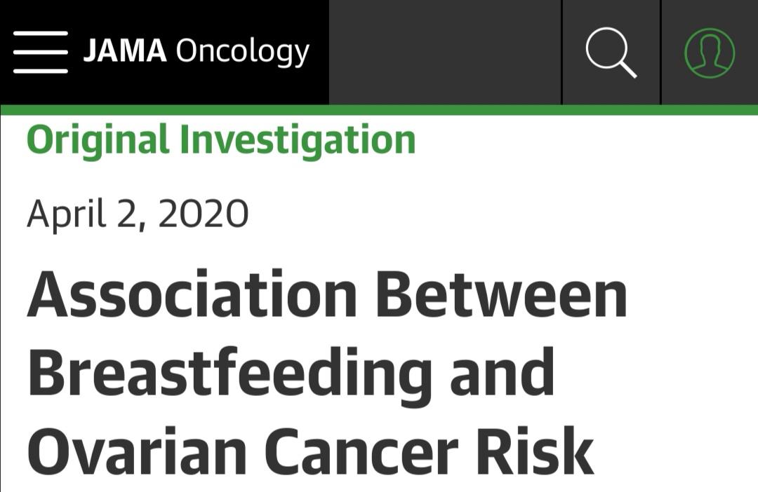 JAMA Oncol:实锤了!近万名国际研究显示母乳喂养可降低24%卵巢癌风险!