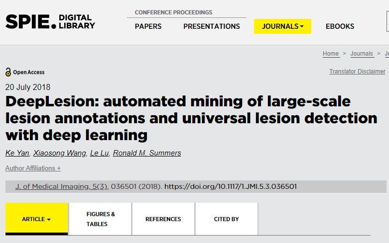 NIHCC发布迄今世界最大的CT医学影像数据集DeepLesion(附下载)
