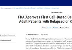 "FDA批准第三款CAR-T细胞治疗产品<font color=""red"">上市</font>"
