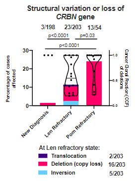 Blood:与多发性骨髓瘤来那度胺或泊马度胺获得性耐药相关的CBRN多发性变异
