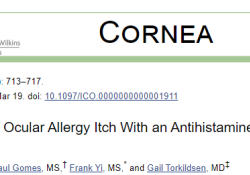 "Cornea:抗组胺<font color=""red"">药物</font><font color=""red"">释放</font>隐形眼镜可用于治疗眼部过敏性瘙痒"