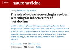 Nat Med:外显子测序帮助筛查新生儿先天性代谢错误