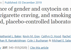 Psychopharmacology:催产素对男女戒烟的作用效果是否一样?