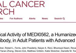 "Clin Cancer Res:免疫<font color=""red"">检查</font>点靶向药MEDI0562治疗晚期实体瘤"
