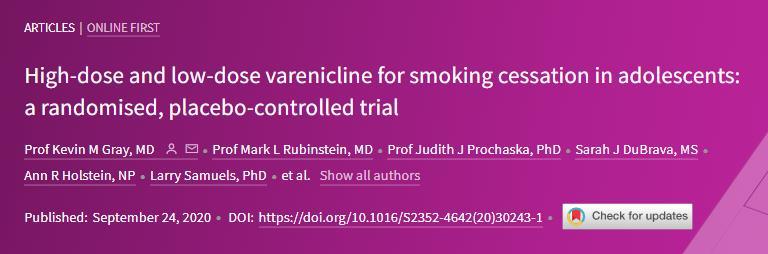 Lancet Child Adolescent Health:伐伦克林用于青少年戒烟的效果不显著