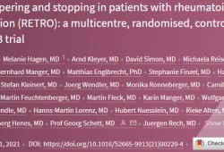 Lancet rheumatology:类风湿性关节炎稳定缓解期患者的治疗逐渐减量和停止(RETRO):一项多中心、随机、对照、开放标签3期试验