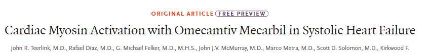 Omecamtiv mecarbil用于治疗射血分数降低的心力衰竭患者