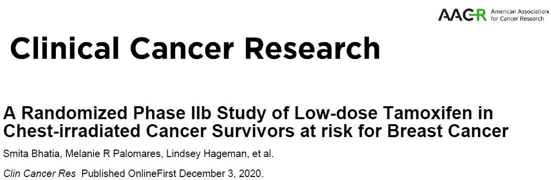 小剂量他莫西芬能有效地降低胸部放疗过的癌症幸存者的乳腺癌风险