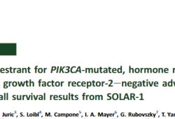 Ann Oncol:Alpelisib+氟维司群治疗PIK3CA突变型HR+HER2-晚期乳腺癌的疗效