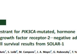 "Ann Oncol:Alpelisib+氟维司群治疗PIK3CA突变型HR+HER<font color=""red"">2</font>-晚期乳腺癌的疗效"