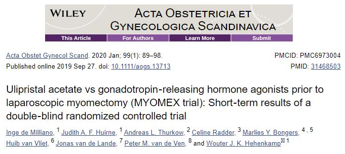 Acta Obstet Gynecol Scand:醋酸乌利司他 VS. GnRHa预处理对子宫肌瘤女性术中出血的影响