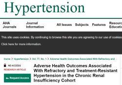 "Hypertention:难治性<font color=""red"">高血压</font><font color=""red"">与</font><font color=""red"">高血压</font>耐药患者的不良结局比较"