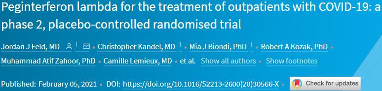 聚乙二醇干扰素λ治疗可加速清除新冠病毒