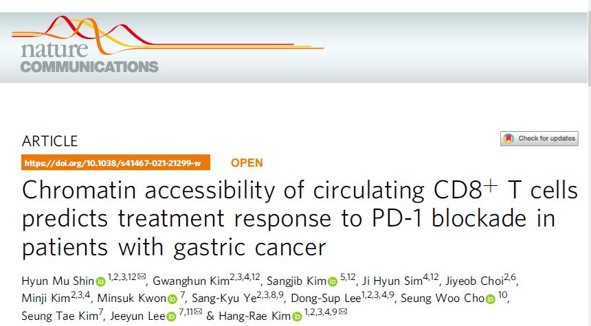 Nat Commun:循环CD8+T细胞的染色质可及性预测胃癌患者对抗PD-1疗法的 ...