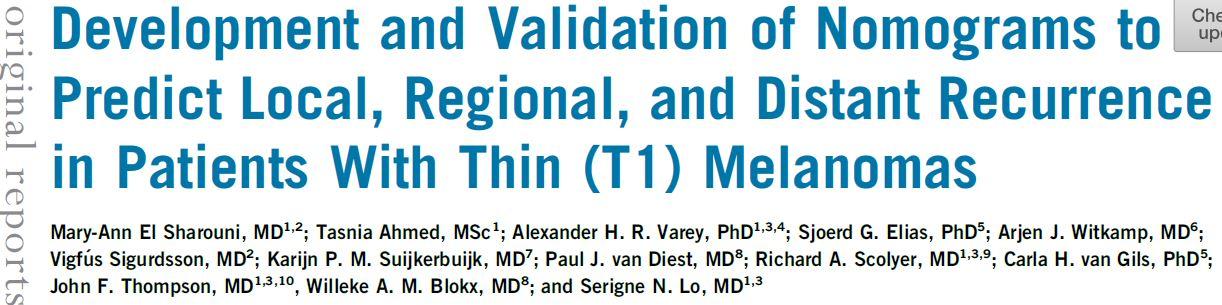 薄型(T1)黑色素瘤患者局部、区域和远处复发预测的新模型