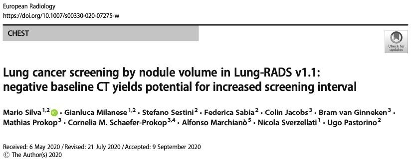 肺CT筛查中发现的结节灶体积大小对筛查频率有啥影响?