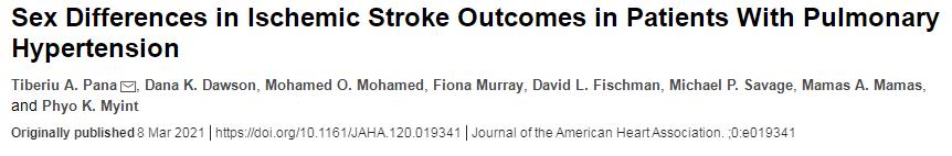 肺动脉高压患者缺血性卒中预后的性别差异