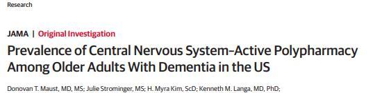 JAMA:美国老年痴呆患者中枢神经系统多活性药物使用情况研究
