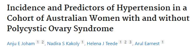 JCEM:多囊卵巢綜合征婦女高血壓的發病率和預測因素