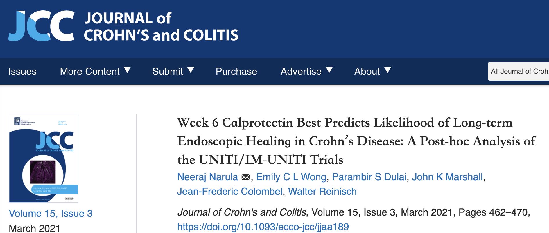 克罗恩病长期内镜治疗的效果与粪钙卫蛋白水平相关