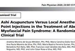 Pain Physician:Ashi针灸治疗 VS. 局部麻醉注射治疗腹肌筋膜疼痛综合征的疗效对比