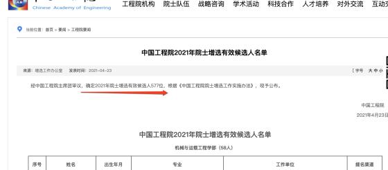 中国工程院2021年院士增选577位有效候选人名单公布,其中医药卫生部84位有效候选人