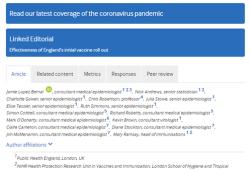 BMJ:英国最初两种候选疫苗都对老年人有效