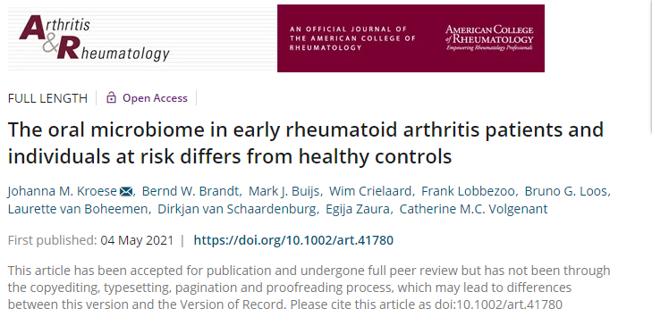 Arthritis Rheumatol:早期類風濕關節炎患者和高危個體與健康人口腔微生物群的差異