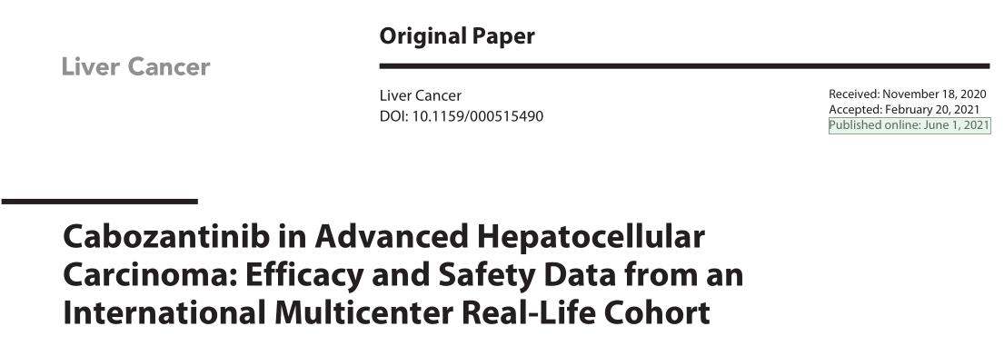 卡博替尼(Cabozantinib)治疗晚期肝癌的疗效和安全性:来自国际多中心真实世界研究