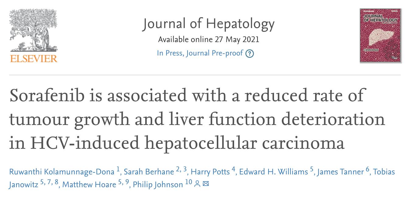 索拉非尼能降低肝细胞癌的肿瘤生长速度降低和肝功能的恶化