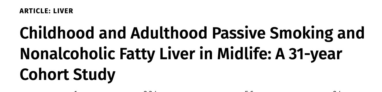 儿童和成人期被动吸烟与中年时患非酒精性脂肪肝的关系