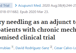 "Acupunct Med:<font color=""red"">干</font>针疗法对慢性机械性颈痛患者的疗效如何?"