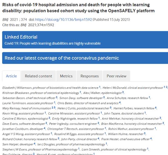 学习障碍患者covid-19住院和死亡的风险高
