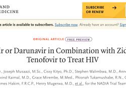 NEJM:多替拉韦或达芦那韦联合齐多夫定或替诺福韦治疗HIV感染的比较的析因研究(NADIA研究)
