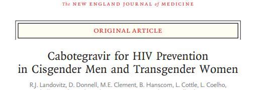 注射cabotegravir方案用于HIV高危人群暴露前预防